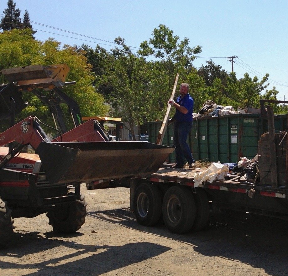 Supervisor Gore at Fulton Founders Day Town Cleanup Dumpster